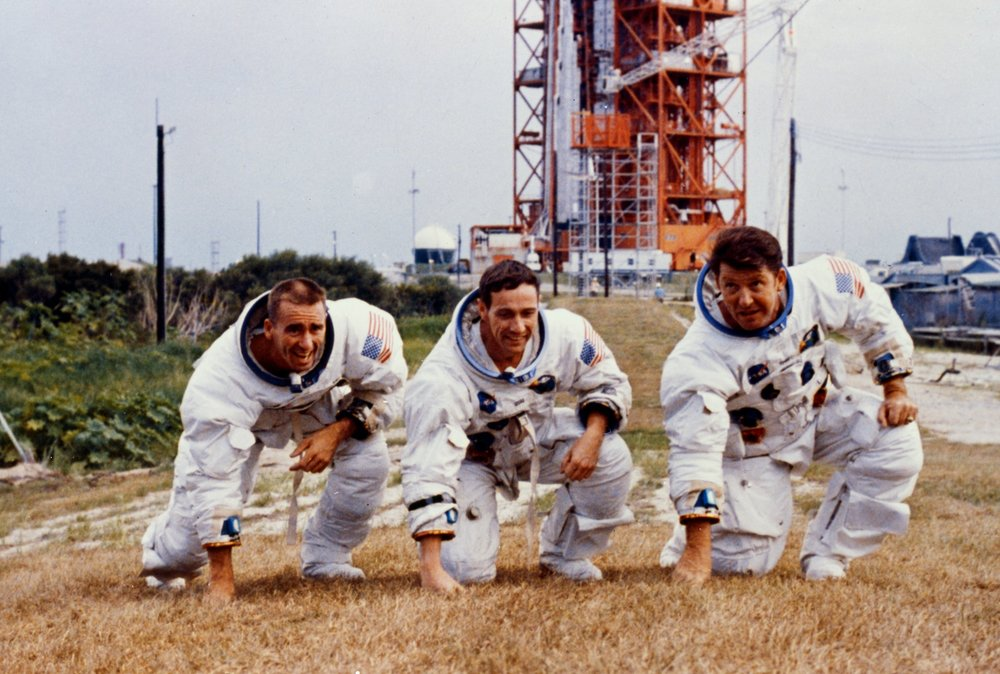 The prime crew of Apollo 7 takes a pose. Photo Credit: NASA.