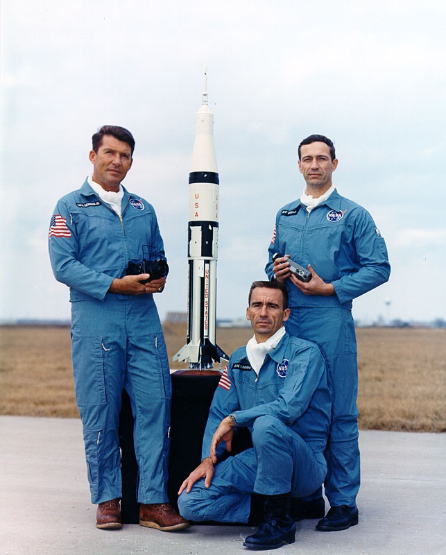 Prime Crew photo of Apollo 7. Photo Credit: NASA.