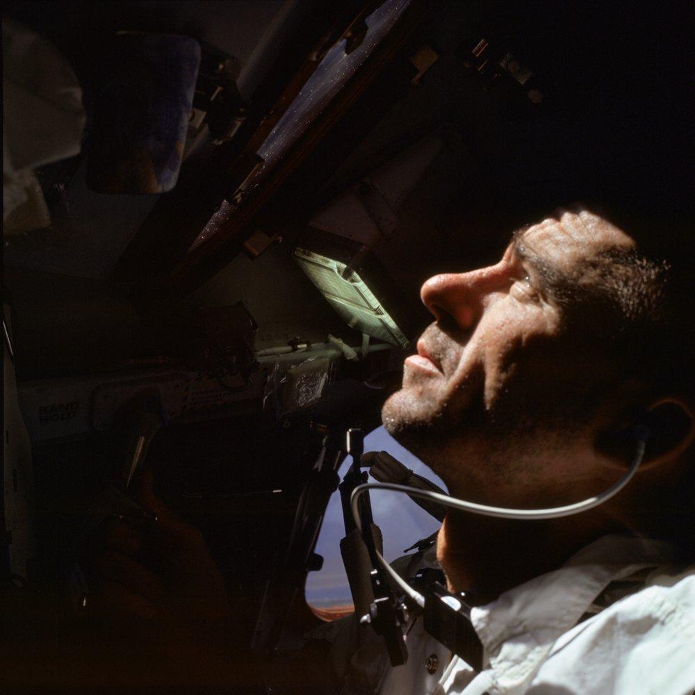 Astronaut Walter Cunningham in orbit. Photo Credit: Nasa.