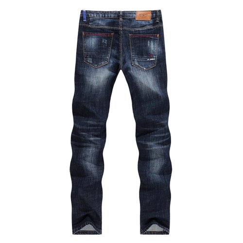 287a2506b4a New Arrivals Jeans Men Quality Brand Business Casual Male Denim Pants  Straight Slim Fit Dark Blue ...