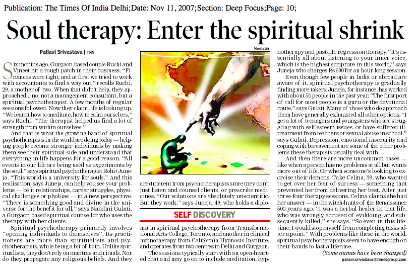 Times of India - Interview with Rohit Juneja about Spiritual Psychotherapy. Nov 11, 2007