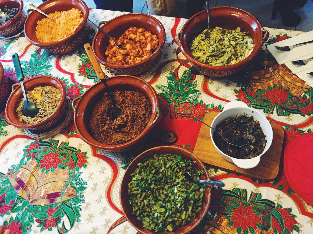 huitlacoche, nopales, mole, chicharron
