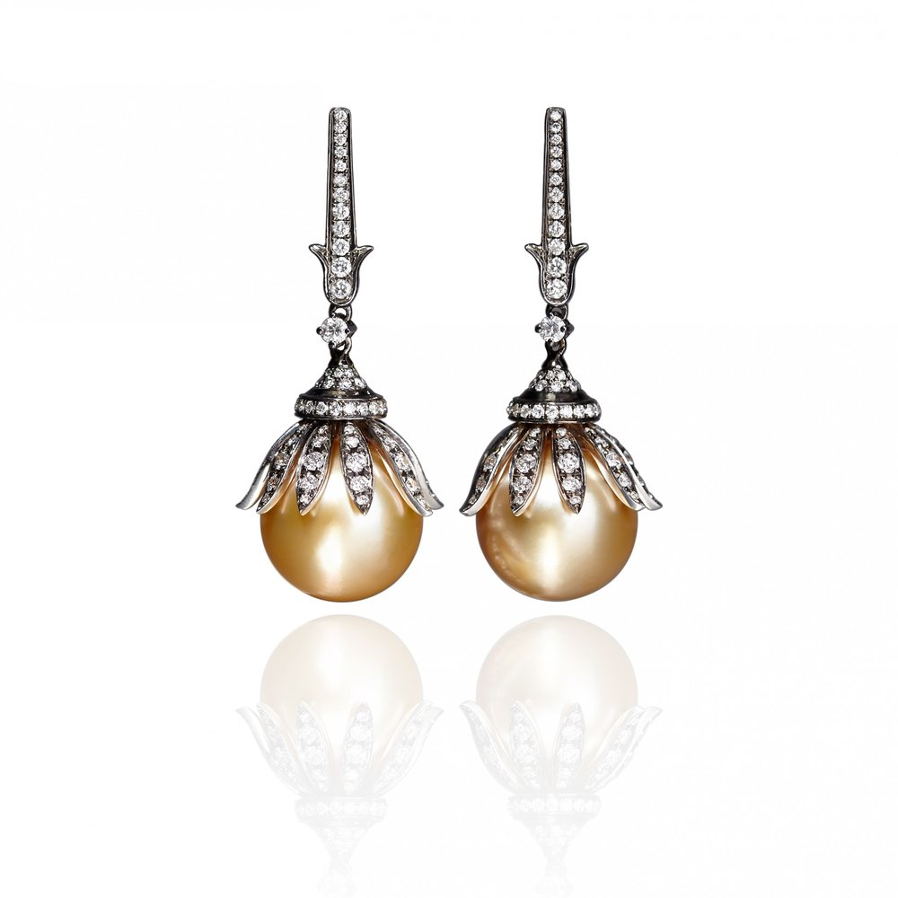 Annoushka Golden Pearl earrings in 18-karat white gold set with South Sea golden pearls and diamonds (Photo courtesy of Annoushka)