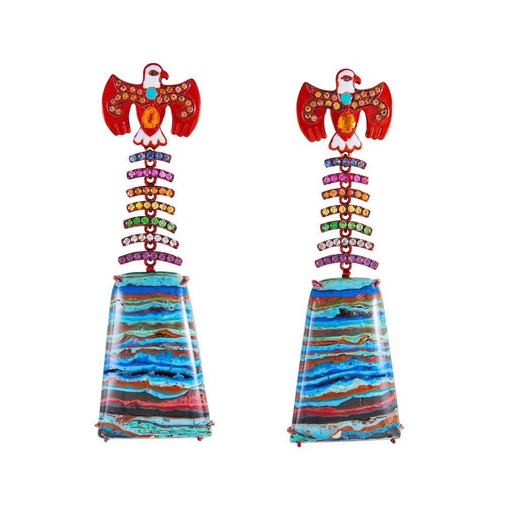 Lydia Courteille - rainbow warrior thunderbird earrings