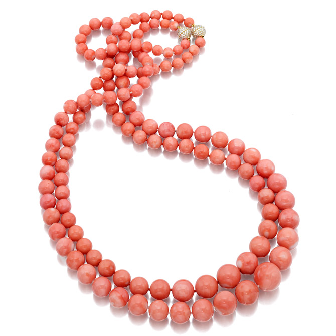 Necklaces in 18k yellow gold with 7 mm–17 mm angel skin coral beads and 1 ct. t.w. diamonds (each), prices on request;     Assael