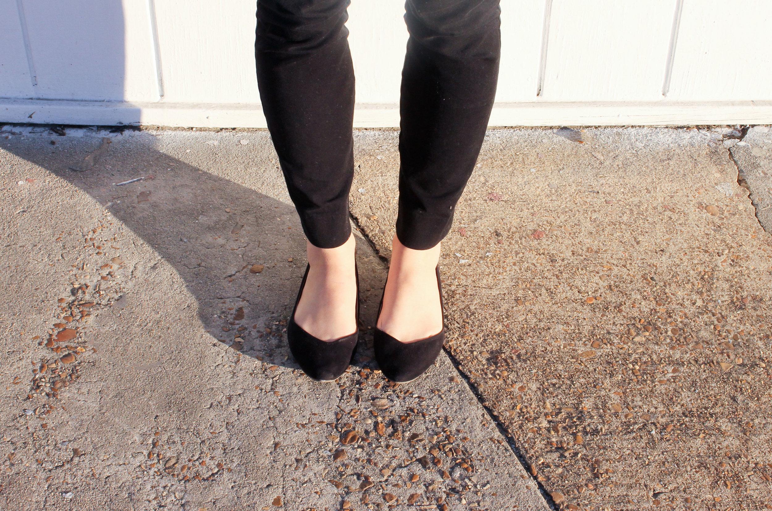 black flats and black pants