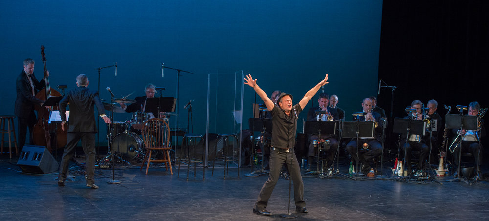 """SAM HARRIS with the FRED BARTON BROADWAY BAND, recreating """"You Gotta Use What You Got"""" from THE LIFE"""