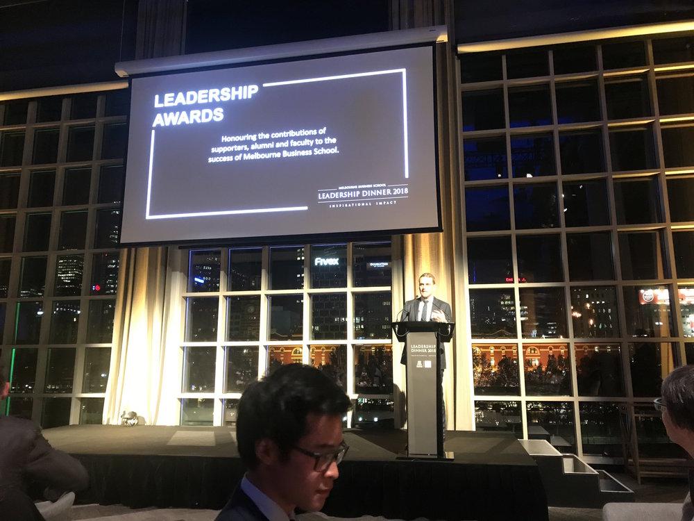 Navi CEO Alex Newton accepting the Leadership Award at the MBS Leadership Dinner 2018