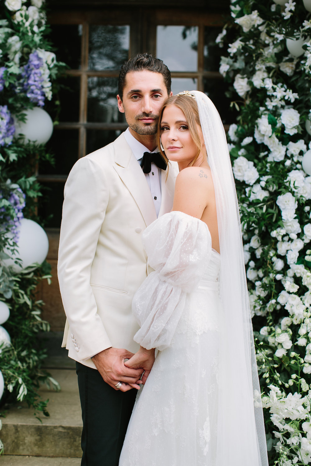 Millie Mackintosh wore a bespoke crown by Tilly Thomas Lux on her wedding day