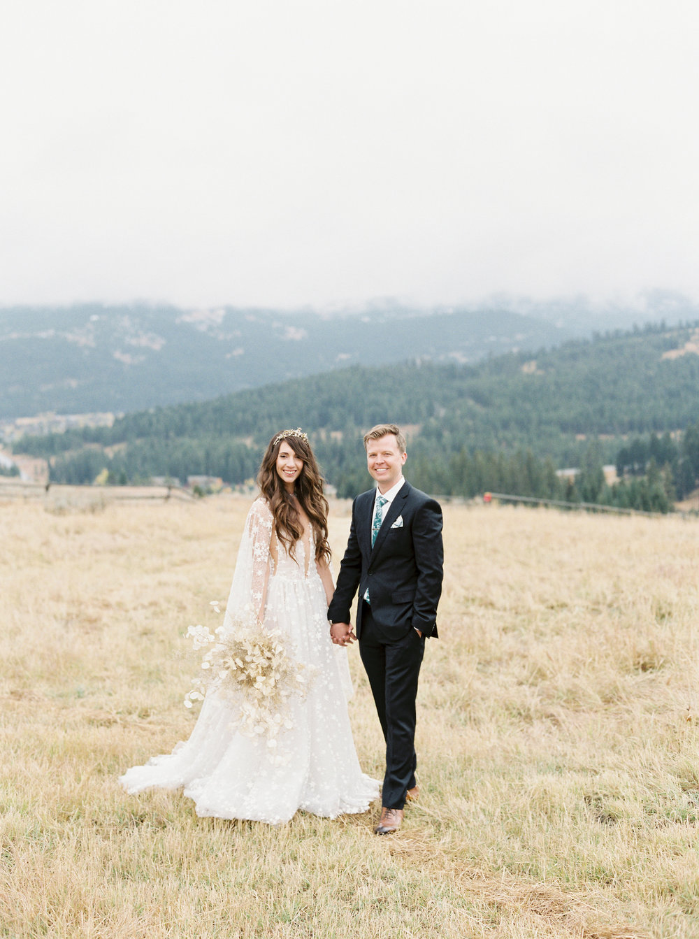 A Montata Mountain Top Wedding with Celestial Details, A Galia Lava Gown and Bespoke Tilly Thomas Lux Crown | Image by Rebecca Hollis Photography