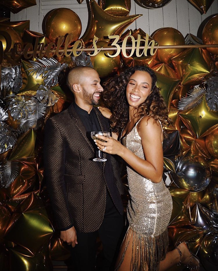 Rochelle Humes wears hairpins by Tilly Thomas Lux for her 30th Birthday party