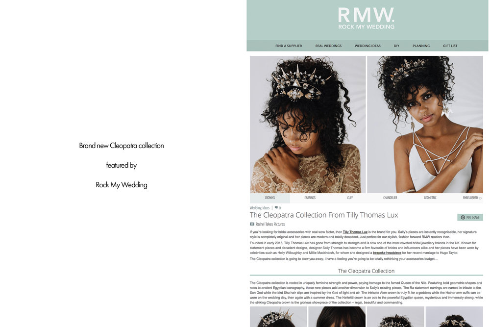Tilly Thomas Lux Cleopatra Collection featured on Rock My Wedding