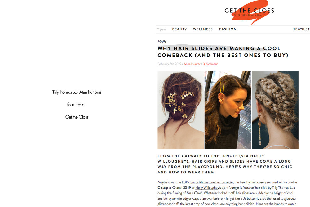 Tilly Thomas Lux hair pins featured on Get the Gloss