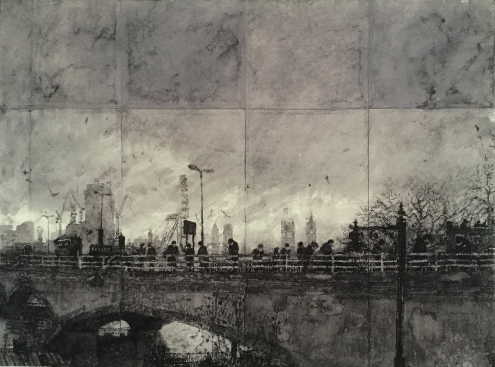 Chris Green Wintery Waterloo bridge 47x64cm Framed .jpg