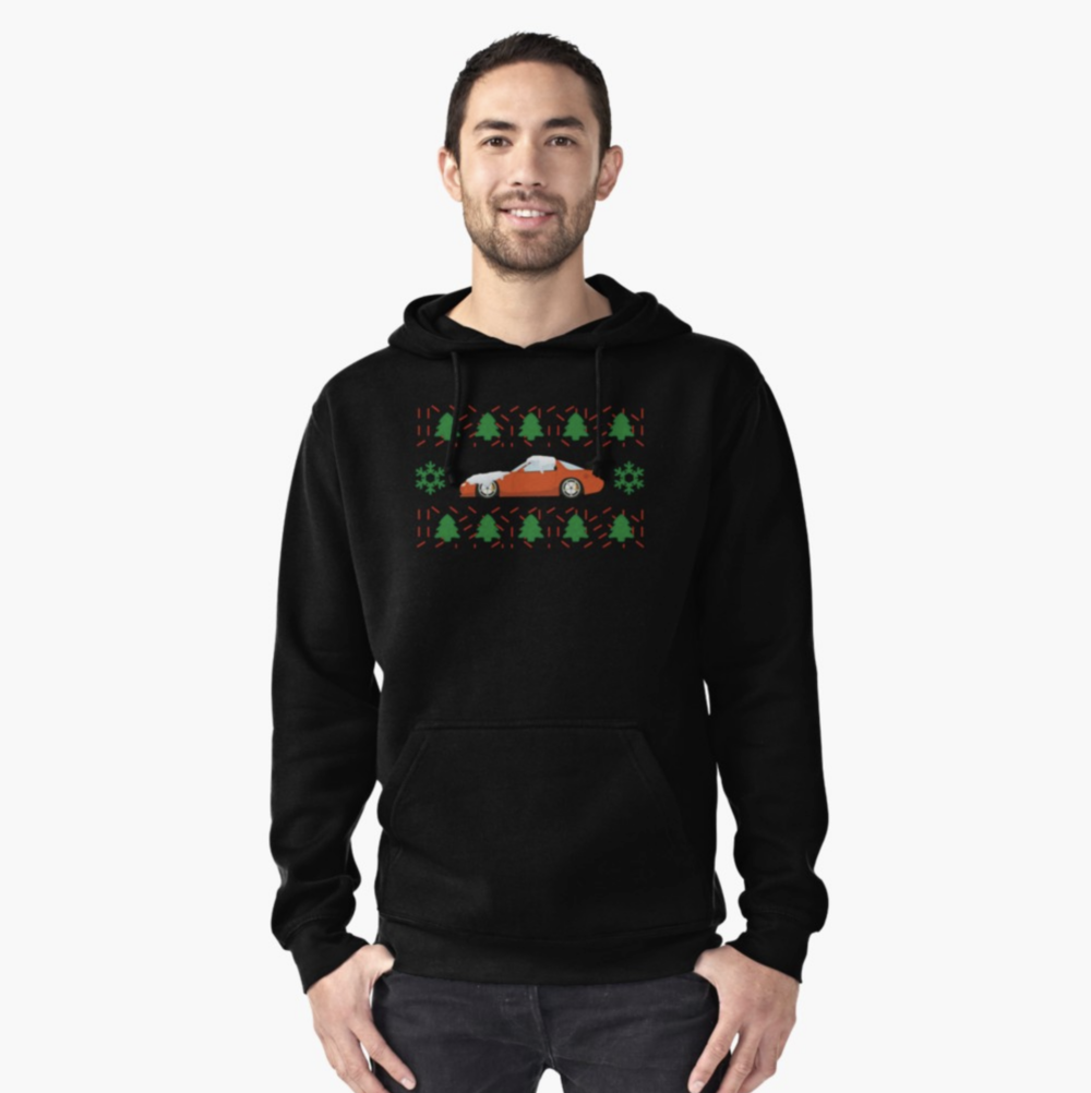 AVAILABLE ON STICKERS,T-SHIRTS,PILLOWS< DRESSES, HOODIES, CASES, & MUGS - XMAS MAZDA RX7