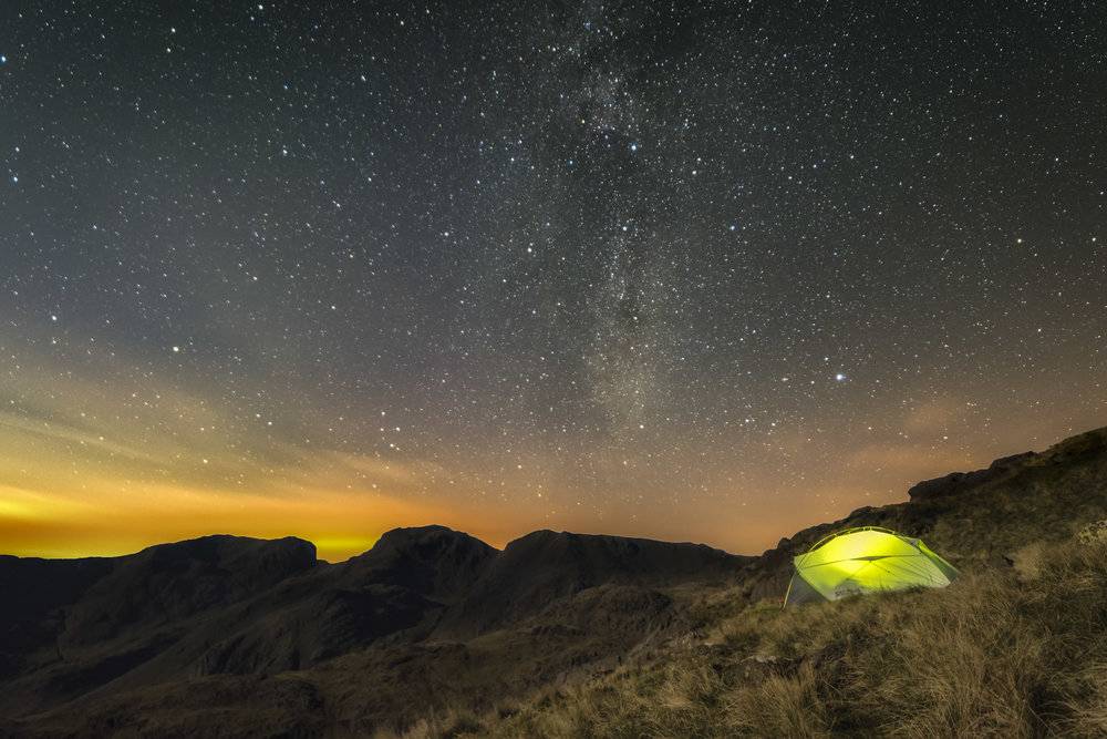 Astrophotography Wild Camping Workshop - The astrophotography workshops are designed for those wanting to learn how to capture the majesty of the night sky. Learn the techniques, camera settings, focusing, post processing and more. We will camp high up in the fells with camping gear included.Price from £200