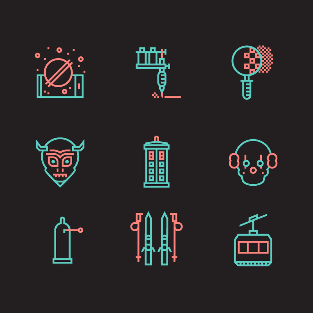 Series of icons for to [icon] - Client: to [icon]For the to [icon] website I worked on Science and Fiction series of icons. Fun, with humor, dark twists, and of course science or fiction references. The series has a total of 137 icons and is available here: www.toicon.com/series/science-and-fiction
