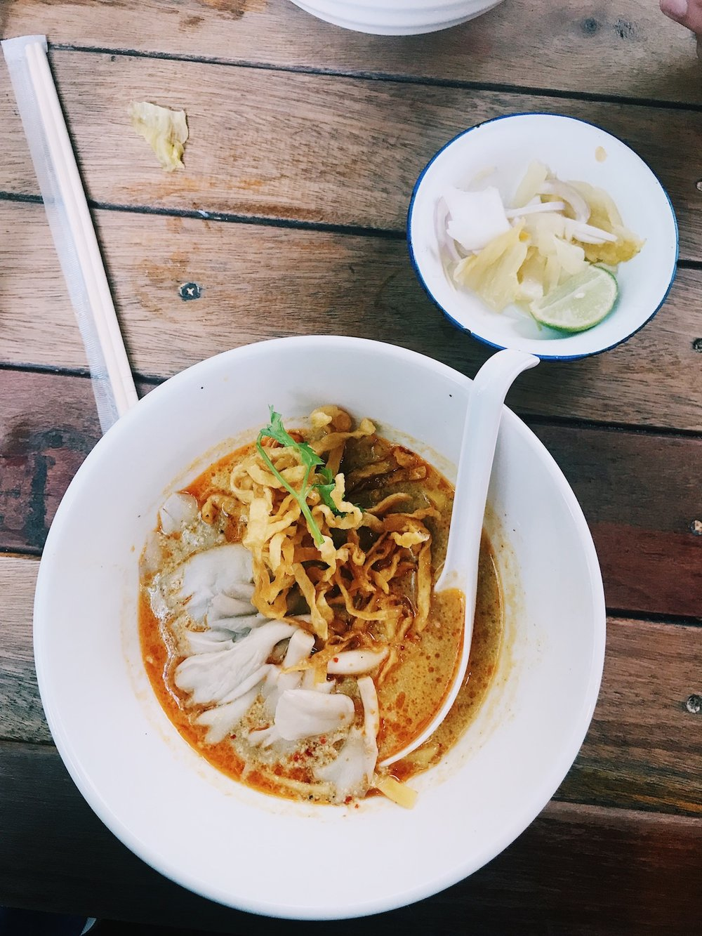 The Foodie Guide to Chiang Mai Thailand - Adventure Claire - Khao Soi Nimman - Claire Eliza