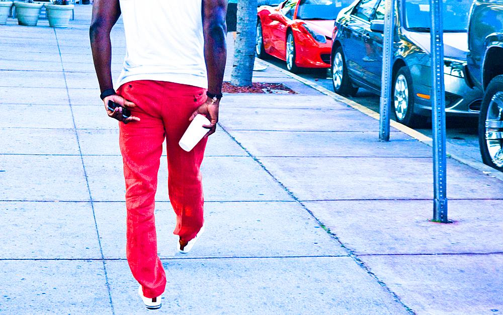 South Beach, Red Pants Walking