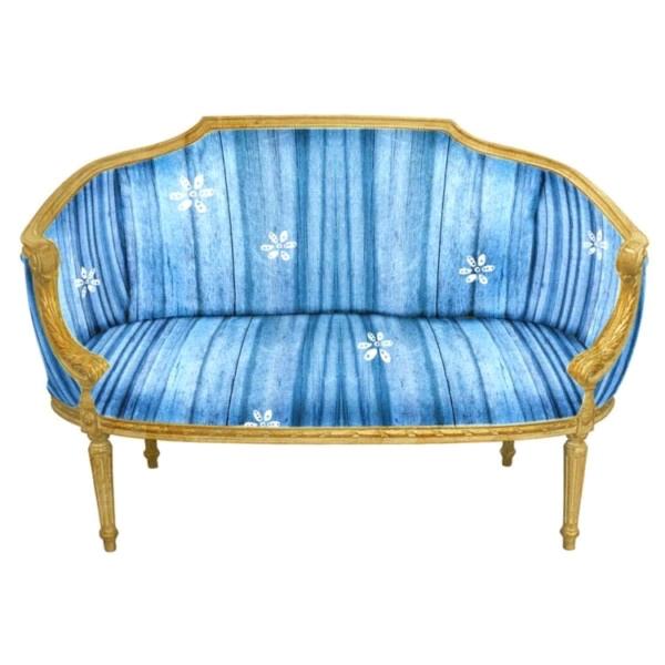 Gold Settee Blue