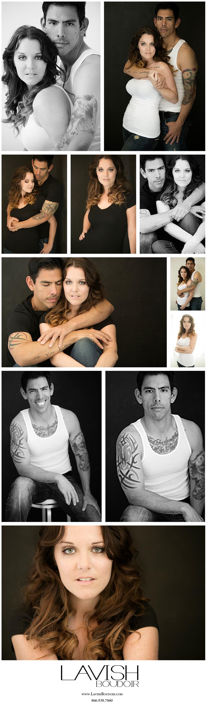 Couple's Glamour shoot by Lavish Boudoir - Valdosta, georgia, tattoos, matching, white tank top, black t-shirt
