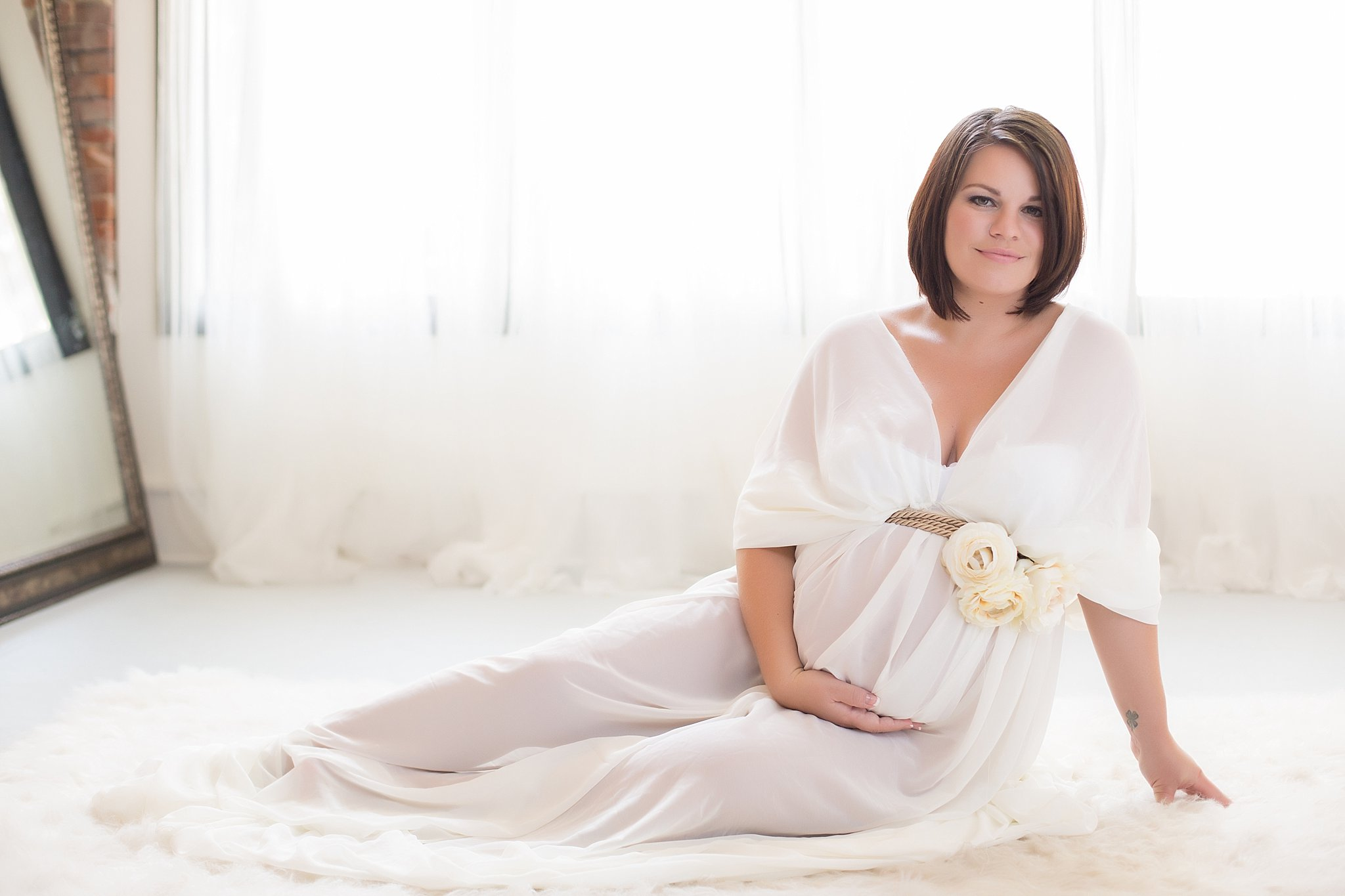 maternity portraits | Lavish Boudoir™ | white gown with flowers