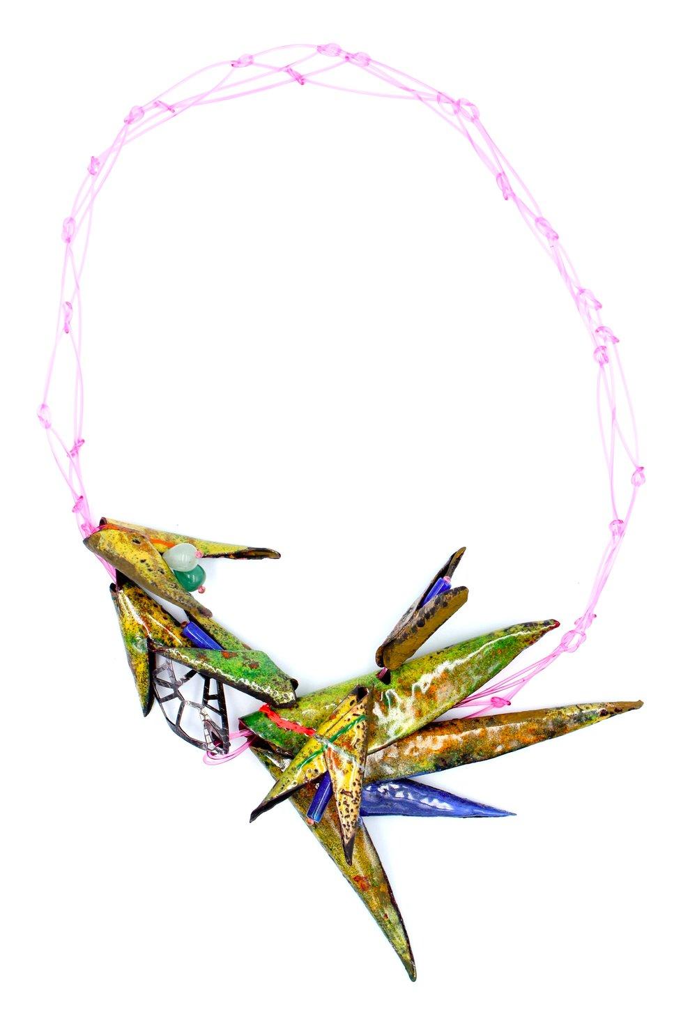 Vlamlek. 2019. Enamel, copper, sterling silver, nylon, silk, lapis lazuli, agate.
