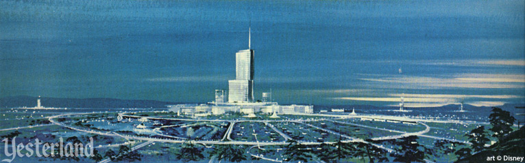 A drawing of the plan to build EPCOT the city at Walt Disney World in Orlando, FL