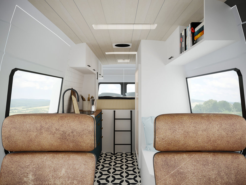The heart of the campervan - the living area. It features a reading nook, food lover's kitchen and custom, heated leather seats to keep you toasty.