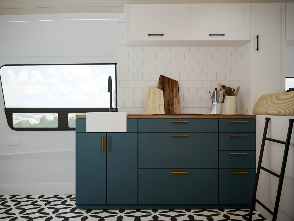 This luxury kitchen features a farmhouse sink. dual burner cooktop and all the kitchen utensils and supplies needed to cook a proper feast.
