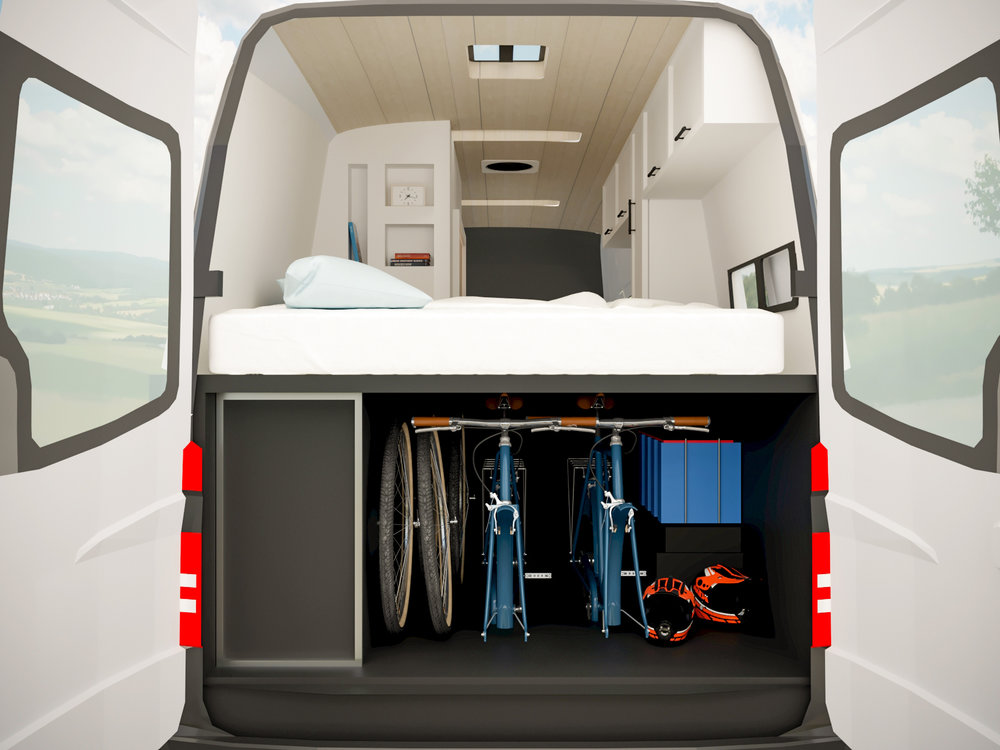 This gear garage is every adventurous couples dream. It houses two bicycles and has room to spare. Kayak's, crash mats, fishing gear, skis… This van makes it easy to   spend more time doing what you love  .