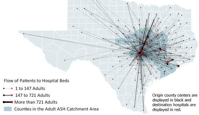 Meadows Mental Health Policy Institute generated epidemiological data including this map of County-to-Hospital Patient Flows (Adults). The 38 counties serving adults in the ASH service area are darkened.