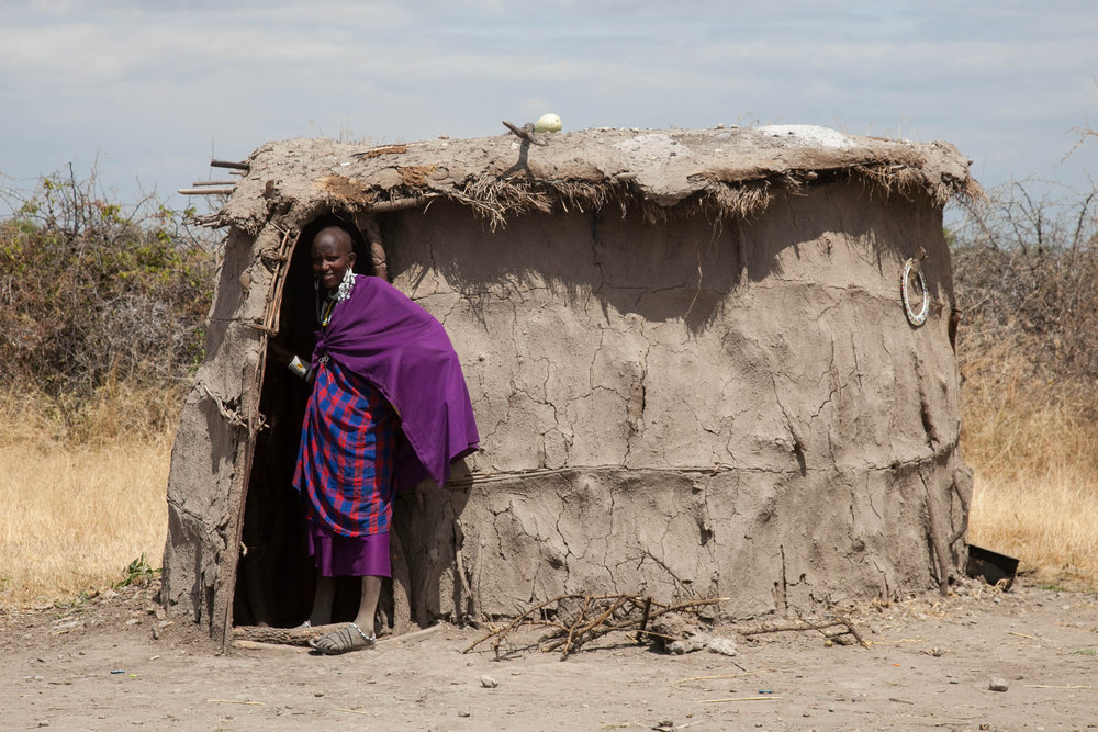 A woman outside her make shift home near the Ngorongoro Crater in Tanzania.