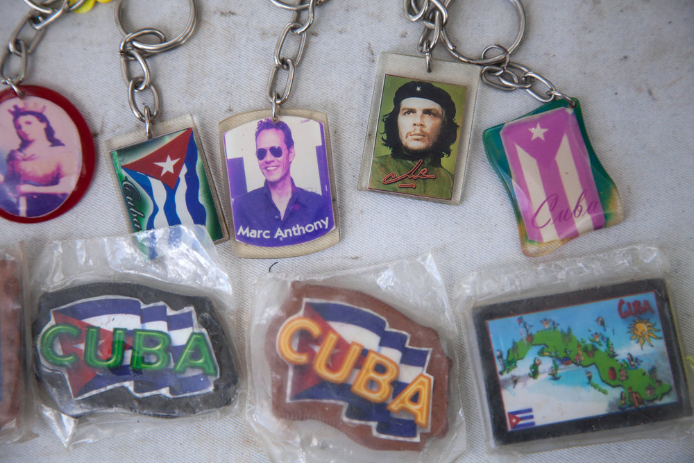Cuban memorabilia, including the face of Che Guevara, is sold by local vendors at Gran Piedra in the National Park of Baconao in Cuba.