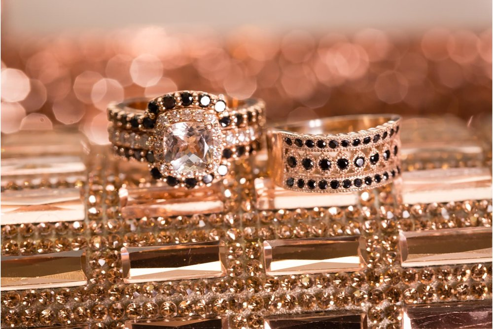 Black diamonds and rose gold are a statement.