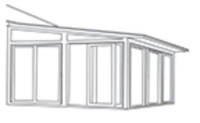 Studio roof - sunrooms feature a sloped roof and are ideal for single story homes or raised decks