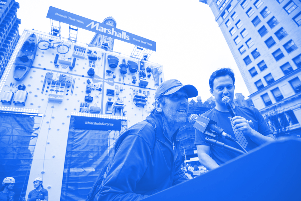 """2018 • MARSHALLS - Client: LEO BURNETTMarshalls helped last minute Father's Day shoppers elevate their gift-giving game, literally. Located in Flatiron Plaza, the 30-foot scalable billboard was filled with father-friendly gifts, from kayaks to socket sets to BBQ grills.Since this wasn't a typical shopping experience, neither was the payment. Shoppers, with the help of some members of the Upright Citizens Brigade, shared the currency of some pretty spectacular dad jokes.""""What does an angry pepper do? It gets jalapeño face!""""For seven hours climbers scaled the billboard to retrieve and restock gifts for last-minute shoppers. This unexpected Father's Day gifting solution showcased how Marshalls surprises shoppers with every visit, given its exciting ever-changing mix of products. The activation even included a surprise appearance by musician Kevin Jonas, who joined the fun and grabbed a gift for his dad."""