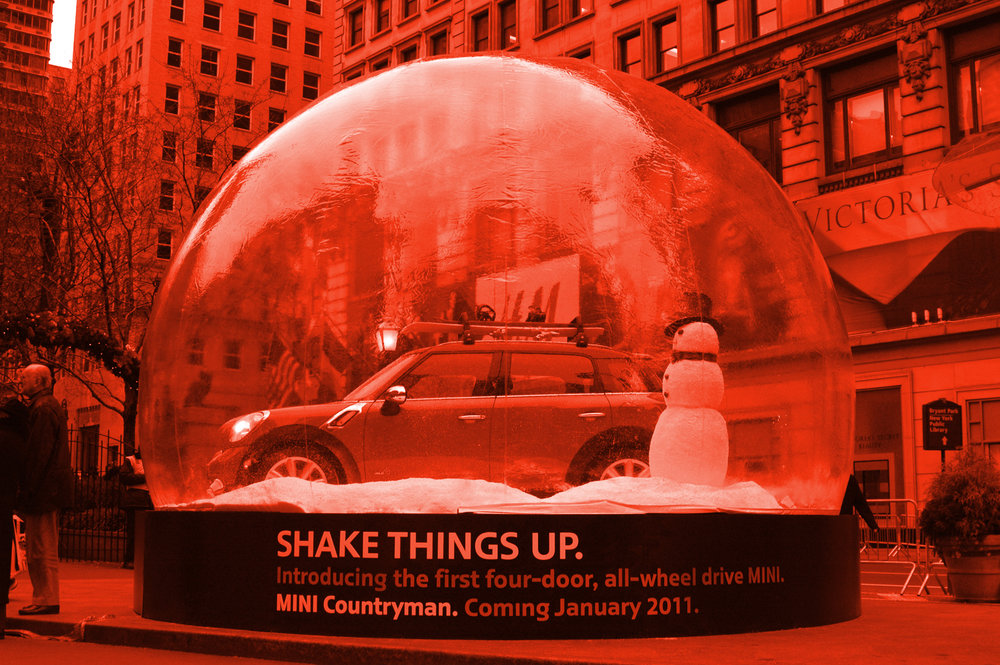 """2010 • MINI COOPER - Client: OOH PITCHMINI wanted to shake things up when introducing their first four door MINI Countryman. With winter being the season of launch it was the perfect time to create a giant MINI Snow Globe and literally """"Shake Things Up"""". This became an eye-catching photo moment in both NYC and LA as on lookers snapped photos of the whimsical display while holiday shopping."""