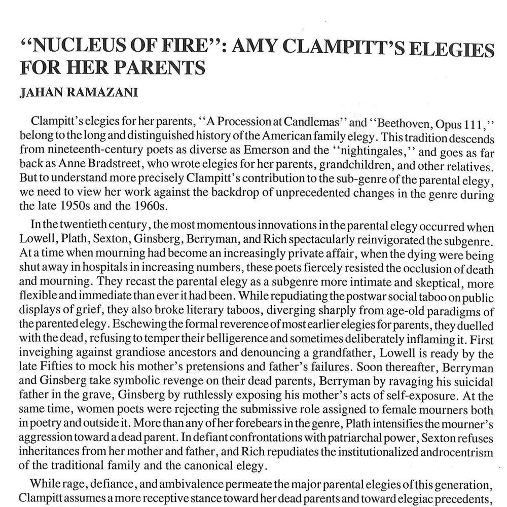 """Nucleus of Fire"":Amy Clampitt's Elegiesfor Her Parents - by Jahan Ramazani"