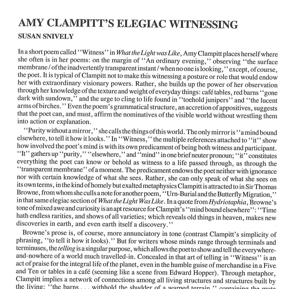 Amy Clampitt's Elegiaic Witnessing - by Susan Snively