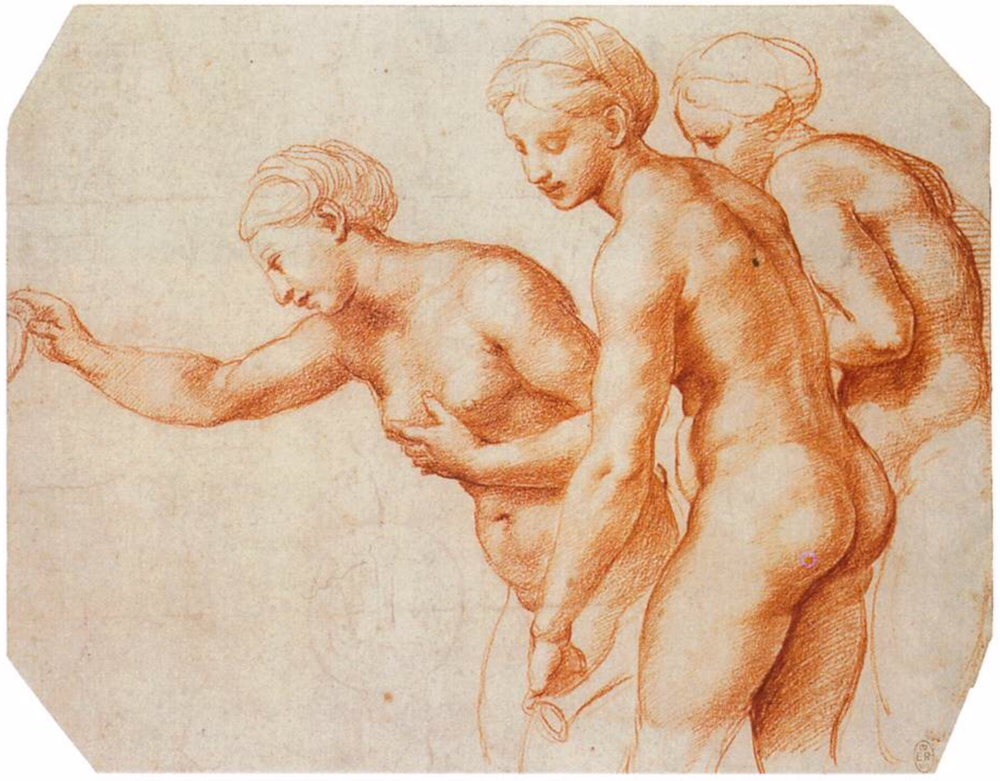 Raphael,  The Three Graces,  1518-1519. Red chalk over stylus underdrawing, 20.3 x 26 cm. Royal Library, Windsor.