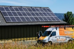 A complete solar installation at an Oregon vineyard.