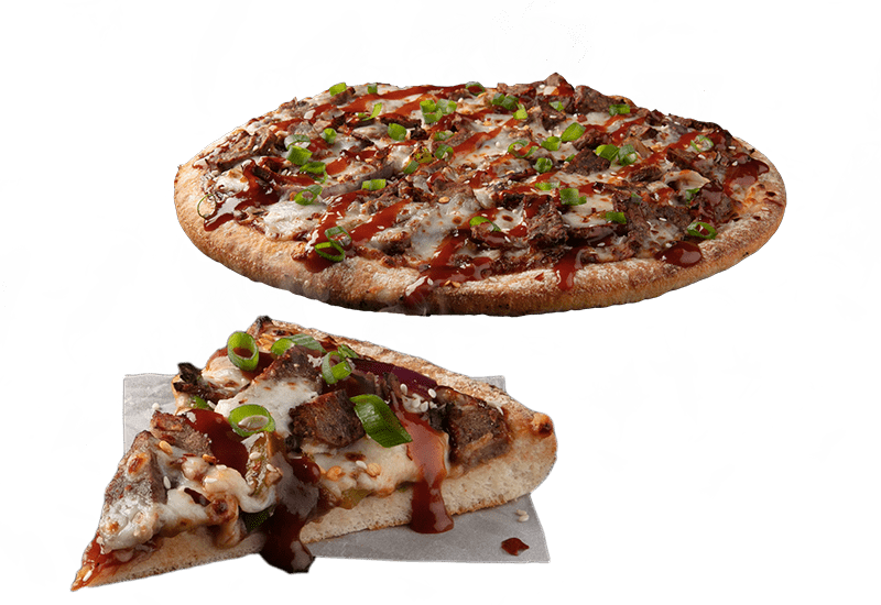 KOREAN BBQ STEAK - Tender steak, red onion and capsicum served on a BBQ sauce base topped with chilli flakes, spring onion, sesame seeds & a sweet Smokey Korean sauce.