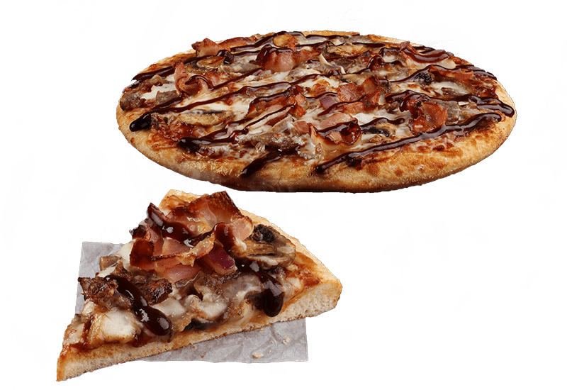 BBQ STEAK & BACON - Tender steak, crispy rasher bacon, mushrooms and red onion served on a BBQ sauce base and topped with BBQ Hickory sauce.