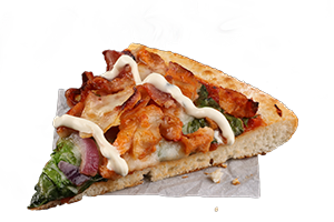GARLIC CHICKEN AND BACON RANCH - Tender chicken, crispy rasher bacon, spinach and red onion, topped with a creamy ranch sauce and served on a pizza sauce base with zesty garlic sauce.