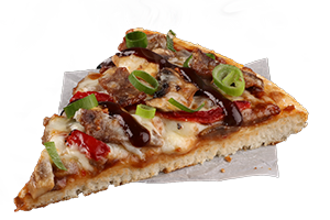 CHIPOTLE STEAK - Tender steak, fire roasted peppers and mushrooms served on a BBQ sauce base topped with spring onions and Blazin' BBQ sauce
