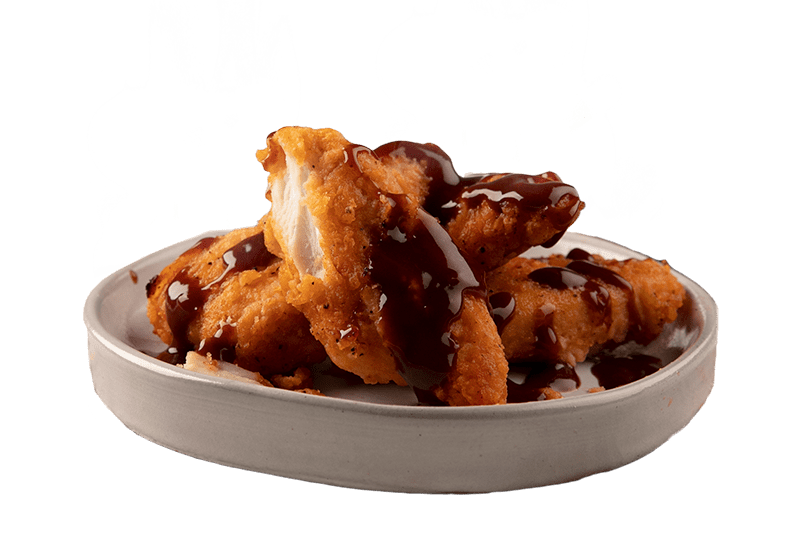 CHICKEN PIECES WITH BLAZIN' BBQ SAUCE - Succulent chicken served in a 4pk with a crispy southern style crumbing made from 100% chicken breast with Blazin' BBQ sauce