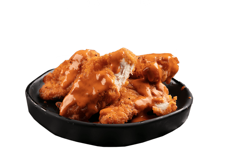 CHICKEN PIECES WITH D'BOMB SAUCE - Succulent chicken served in a 4pk with a crispy southern style crumbing made from 100% chicken breast with D'Bomb sauce.