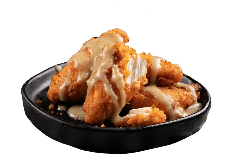 CHICKEN PIECES WITH DAMN FINE JALAPENO LIME SAUCE - Succulent chicken served in a 4pk with a crispy southern style crumbing made from 100% chicken breast with Damn Fine Jalapeno Lime sauce.