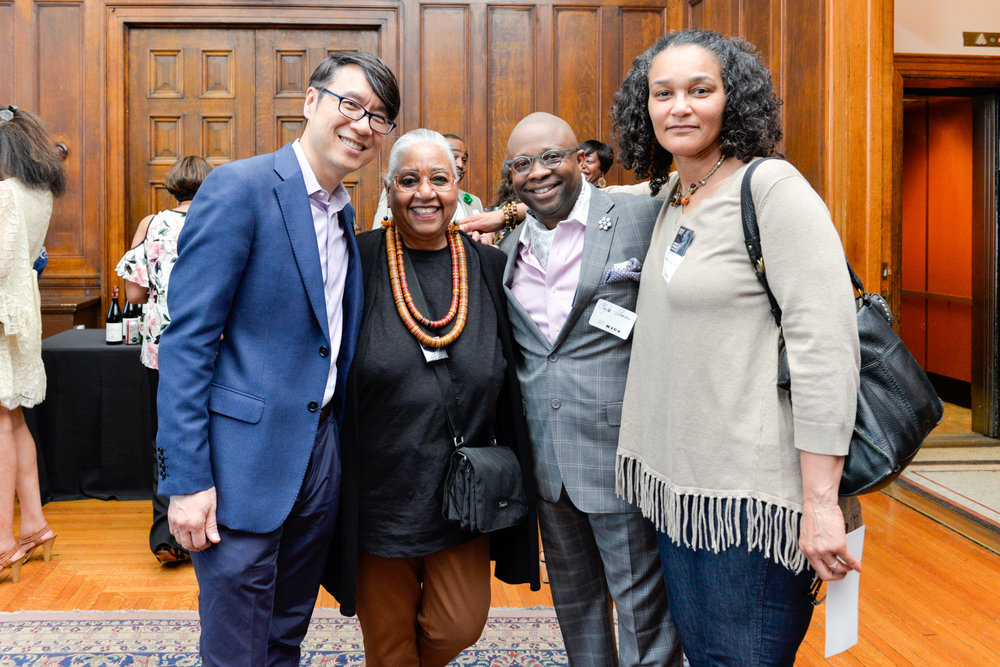 """Left to Right:  Samuel """"Sammy"""" Hoi, President  Dr. Leslie King-Hammond, Graduate Dean Emeritus, Former Director of Center For Race and Culture  Clyde Johnson, Associate Dean of Identity and Inclusion  Colette Veasey-Cullors, Associate Dean for Design and Media, Former Department Chair - Photography"""